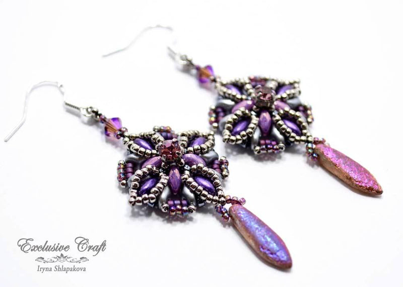 handmade purple beaded earrings with swarovski