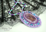 handcrafted beaded necklace with Charoite