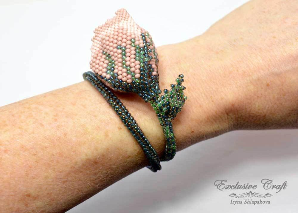 unique beaded rose bracelet