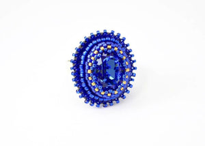 beaded adjastable blue sapphire ring