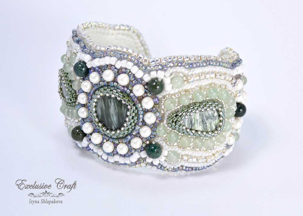 unique bead embroidered cuff bracelet green white