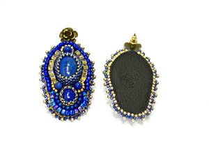 blue bead embroidered earrings