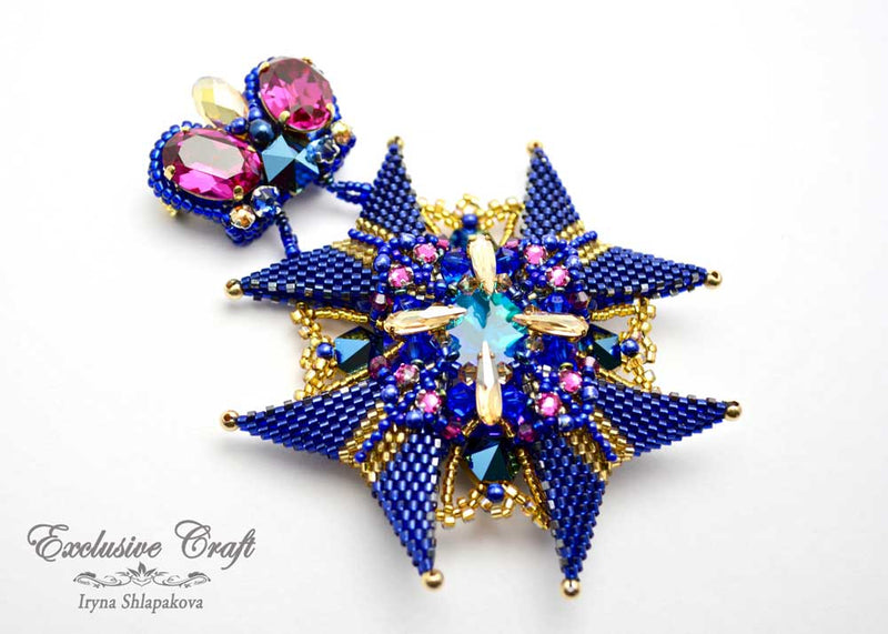 unique beaded blue brooch medal