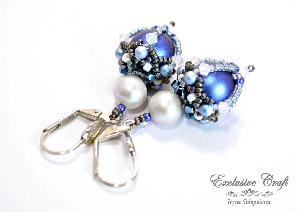 beaded earrings with swarovski blue white
