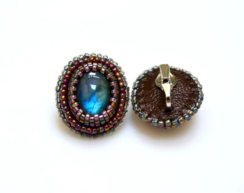 handmade beaded labradorite clip earrings