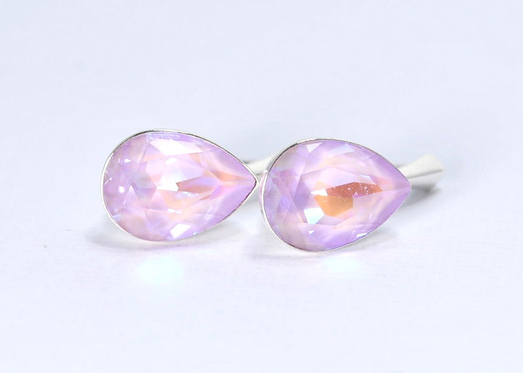 handmade lavender purple Swarovski sterling silver earrings