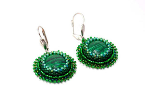 green malachite earrings bead embroidered