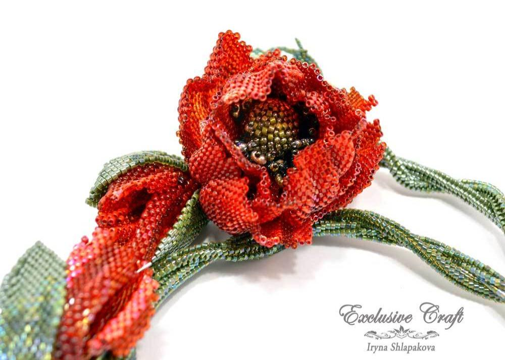 handmade beaded red poppy necklace