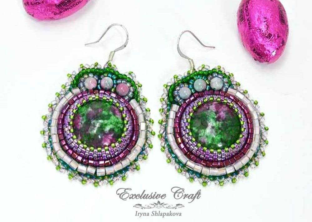 unique beaded ruby  earrings