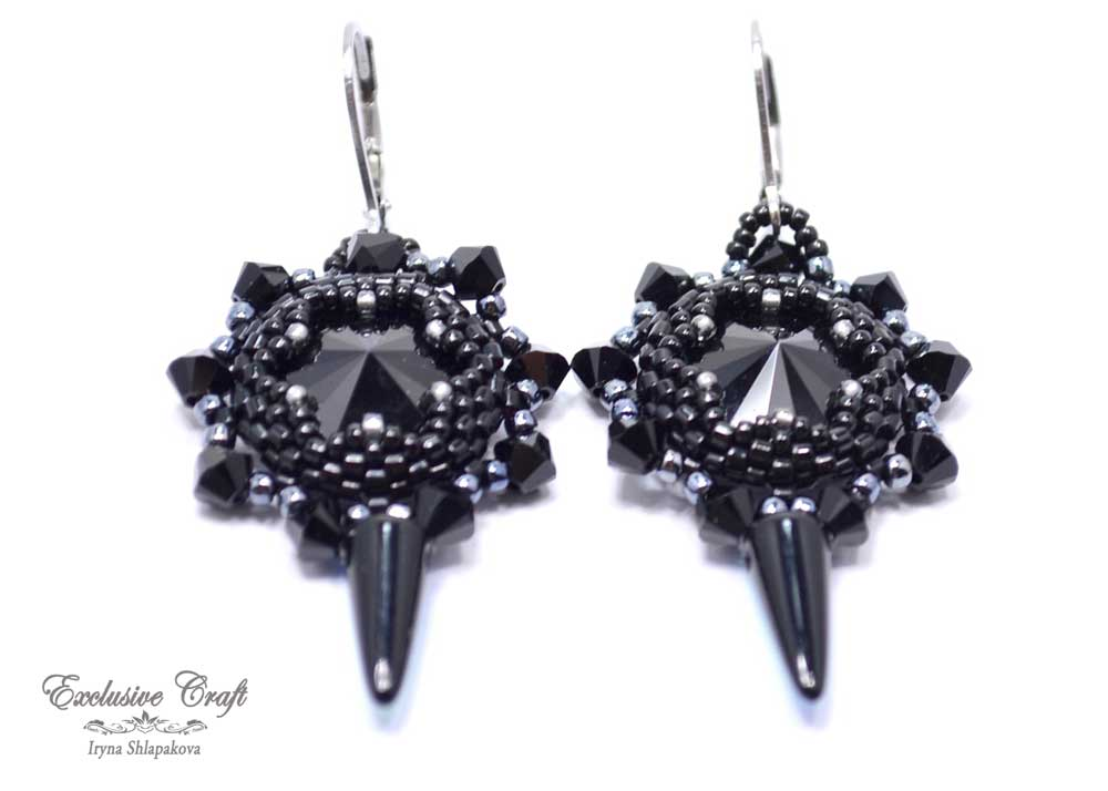 handmade beaded black swarovski earrings