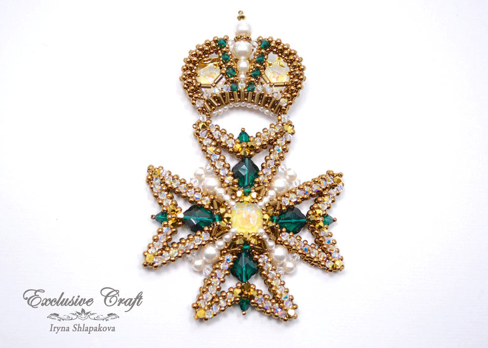 Maltese Cross swarovski beaded brooch handmade