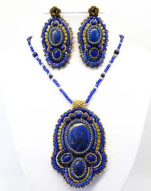 blue beaded  jewelry set