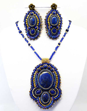 blue beaded embroidered pendant