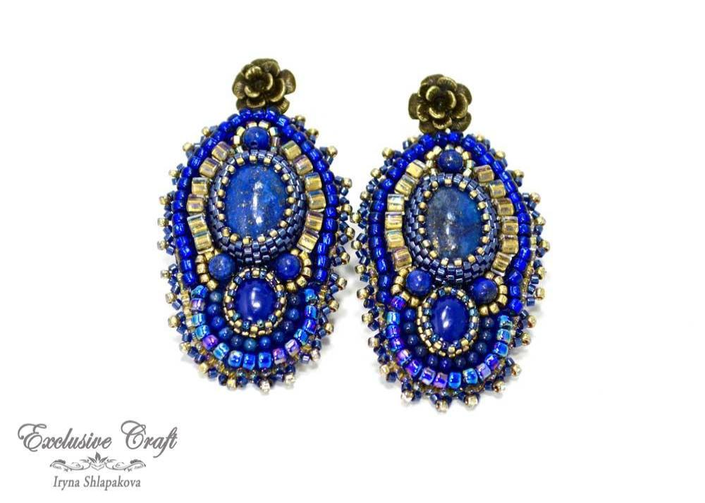 unique beaded lapis earrings