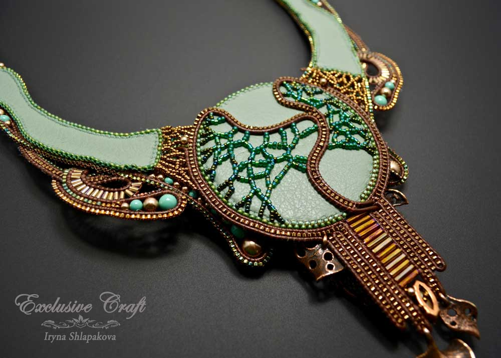 bead embroidered green bronze swarovski necklace leather back