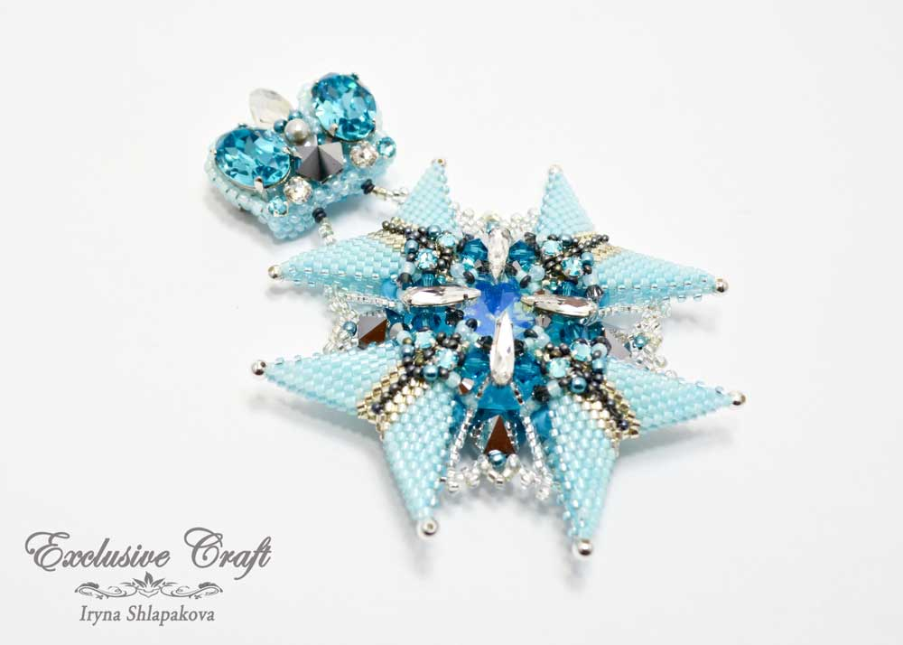 unique beaded light blue brooch medal
