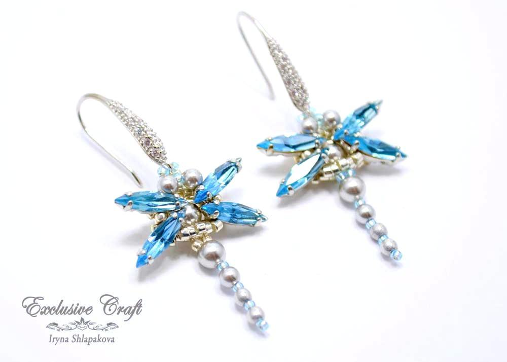 light blue handmade beaded Swarovski dragonfly earrings
