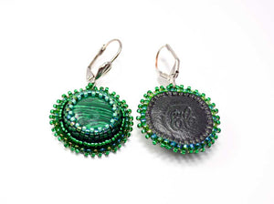 handcrafted beaded easrrings green