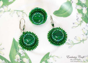 handmade artisan jewelry malachite earrings