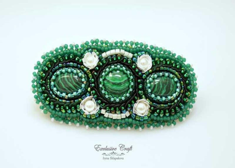 malachite hair accessory