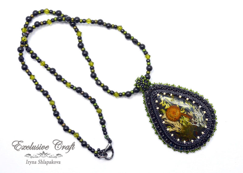 handmade dried mushroom resin bead embroidery necklace