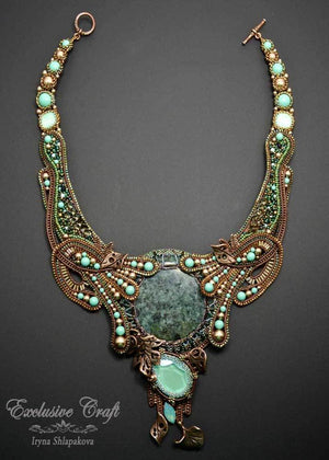 wearable art beaded necklace green jade bronze