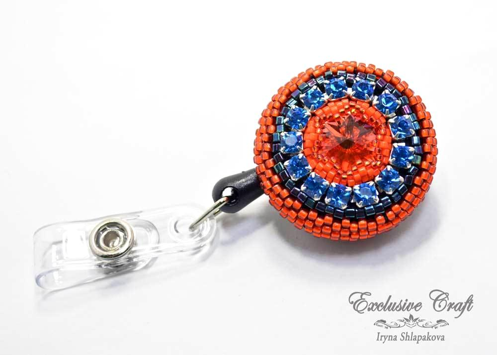 bead embroidered ID badge for nurse teacher orange blue