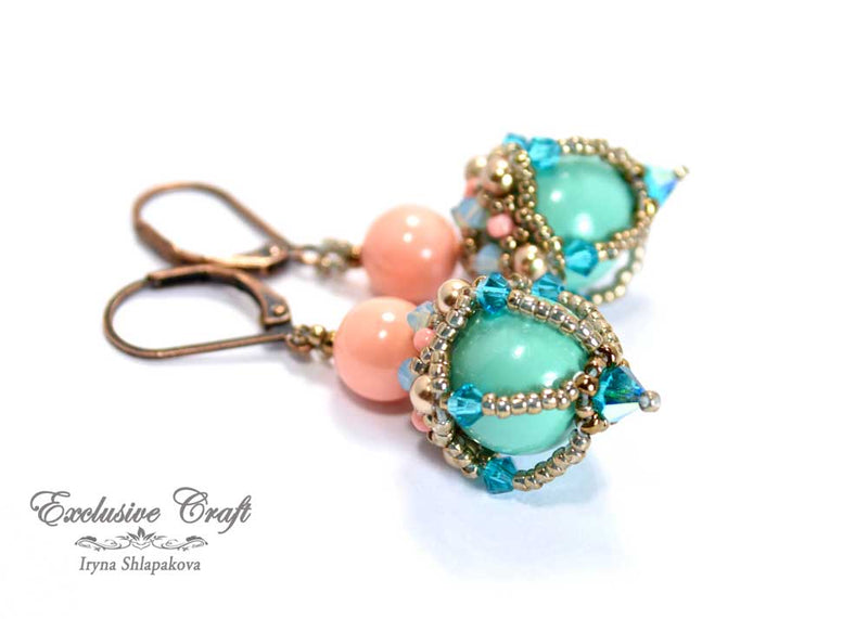 beaded earrings with swarovski turquoise