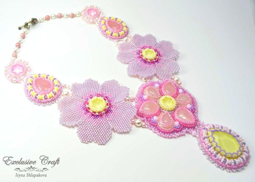 pink yellow beaded necklace