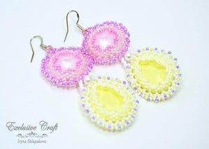 pink yellow beaded earrings