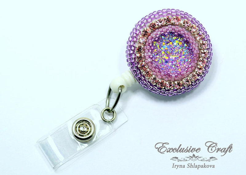 unique adjustable beaded ID badge holder clip druzzy pink