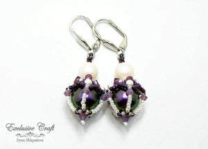 beaded earrings with swarovski purple