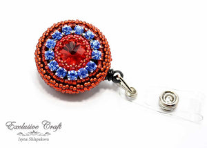 bead embroidered ID badge for nurse teacher red blue