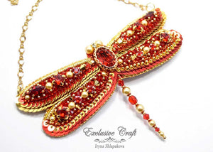 beaded red gold dragonfly Swarovski necklace