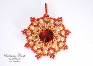 unique swarovski christmas ornament beaded red gold