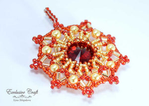 christmas ornament beaded red