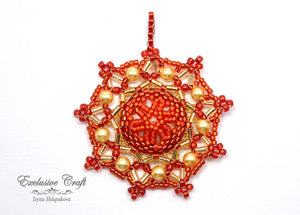 swarovski christmas ornament beaded red gold