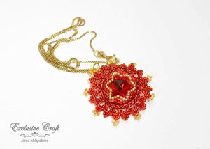 handmade beaded red swarovski pendant