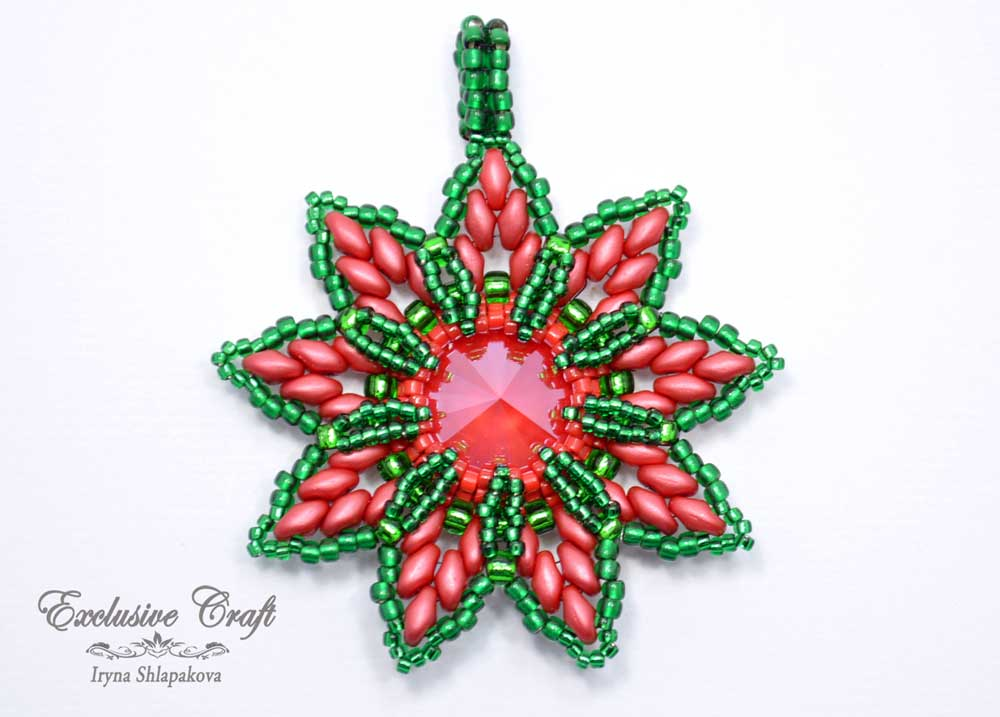 christmas ornament beaded red green puansetia
