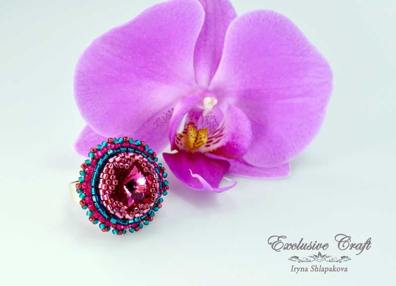 pink beaded swarovski ring