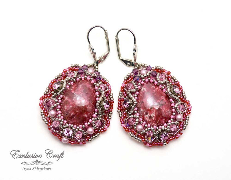 unique beaded earrings with Swarovski and pearls