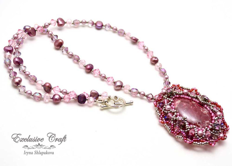unique beaded necklace with Swarovski and pearls