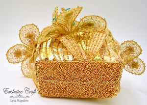 seed beads tambour embroidered flower basket purse