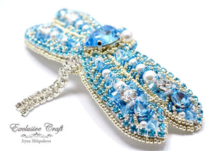 Swarovski bridal bead embroidery white blue dragonfly large hair clip barrette