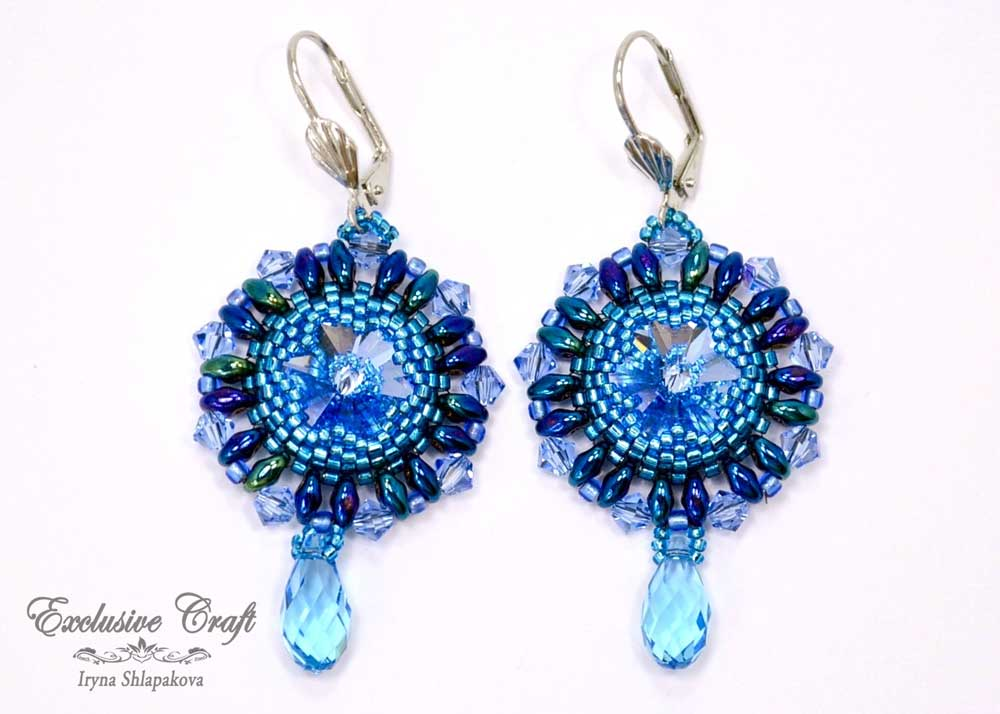 blue beaded Swarovski earrings
