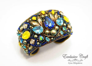 swarovski adjustable bead embroidered cuff bracelet handmade