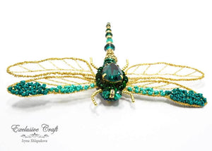 handcrafted beaded dragonfly brooch with Swarovski, wire purl, sequince