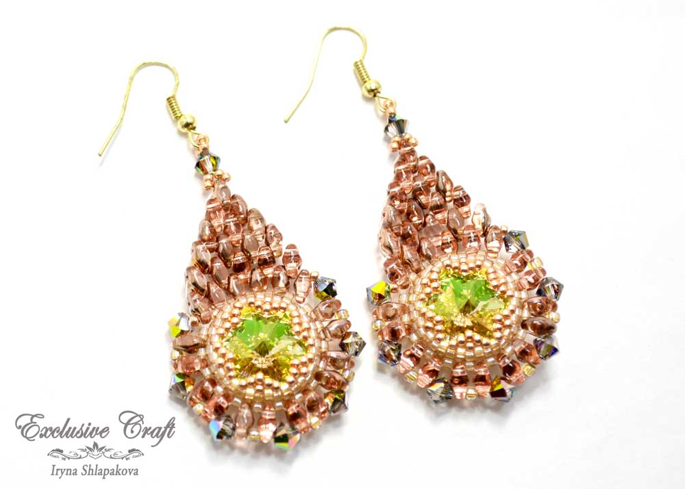 handmade golden beaded earrings