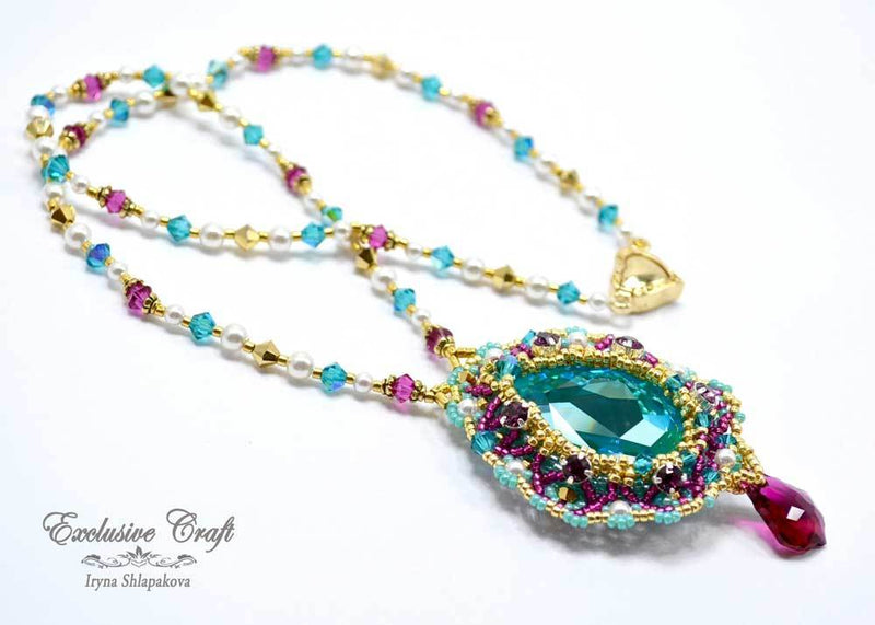 beaded Swarovski Mermaid teal fuchsia necklace