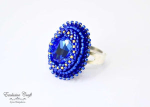 blue beaded swarovski ring